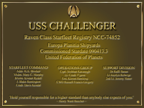 Uss Challenger's Dedication Plaque
