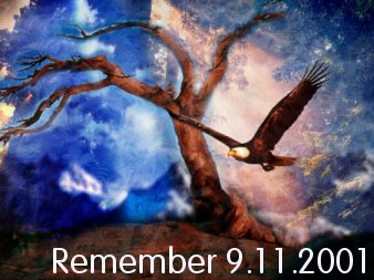 Our thoughts and prayers to all affected by the events of September 11th, 2001.  Broken, but never beaten.  (Soaring Eagle Rememberance Image)